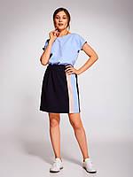 Комплект голубой топ и юбка на сборке темно-синего цвета