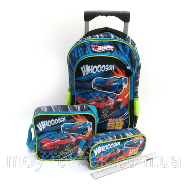 Набор чемодан - рюкзак детский на колесах + сумка + пенал «Racing», 520392