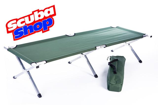 Туристическая складная раскладушка Folding Camping Bed (зеленая ткань)