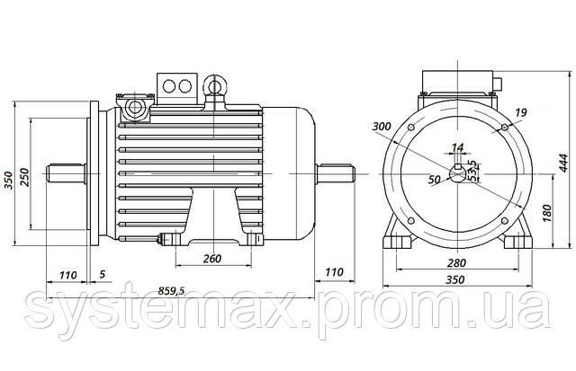 МТН 311-8 - IM2002 фланец на лапах (габаритные и установочные размеры)