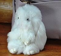 Меховой брелок кролик белый