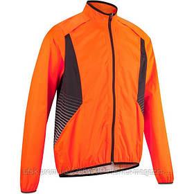 Куртка мужская велосипедная, ветрозащитная 500 Btwin оранжевая