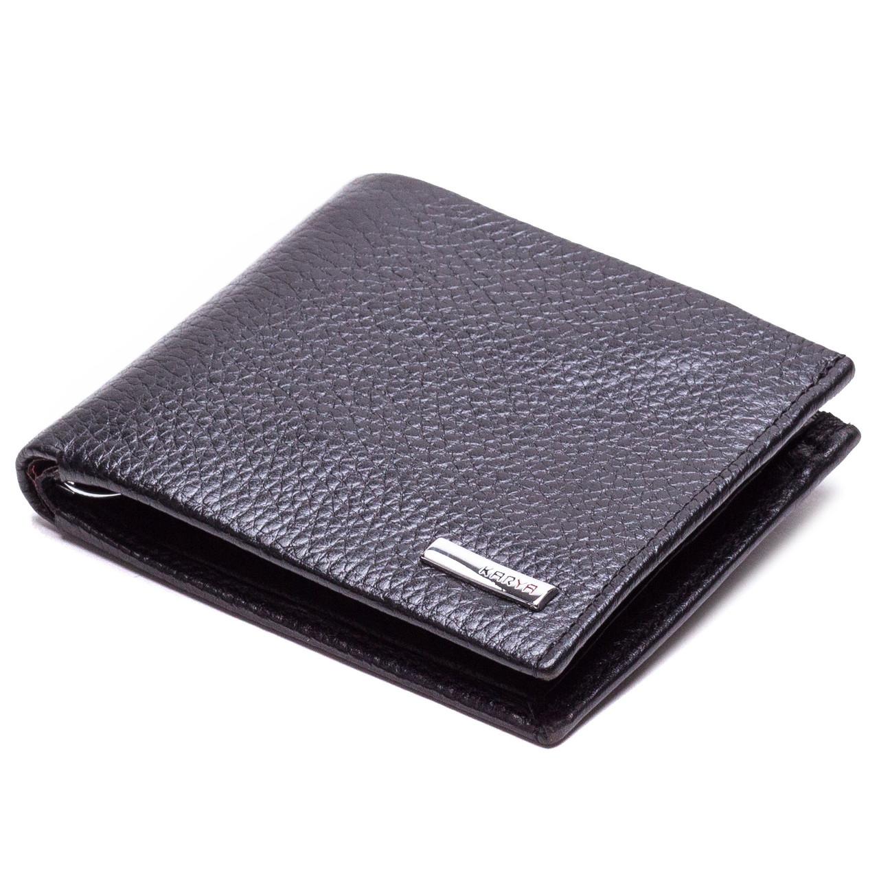 Кошелек зажим для денег кожаный черный Karya 0945-45