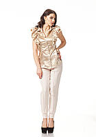 Блуза женская с рюшами. Модель К089_атлас бежевый, фото 1