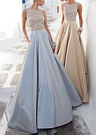 Вечернее атласное платье на выпускной, свадьбу из гипюра и атласа DL-590