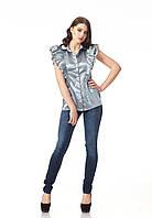 Серая атласная блуза. Модель К089_атлас серый