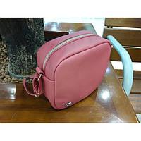 Женская сумка Bale кроссбоди розовая из экокожи украинского производства, 18х20х8