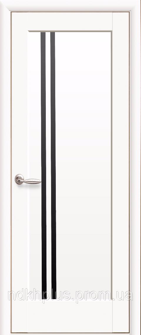 Двери межкомнатные Делла белый матовый с черным стеклом