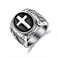 Мужское кольцо-печатка из стали с крестом, р. 18, 19, 20, 20.7