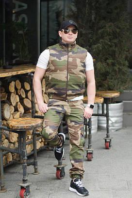 Мужской костюм жилетка+штаны. Камуфляж, 2 цвета. Р-ры: 46,48,50,52.