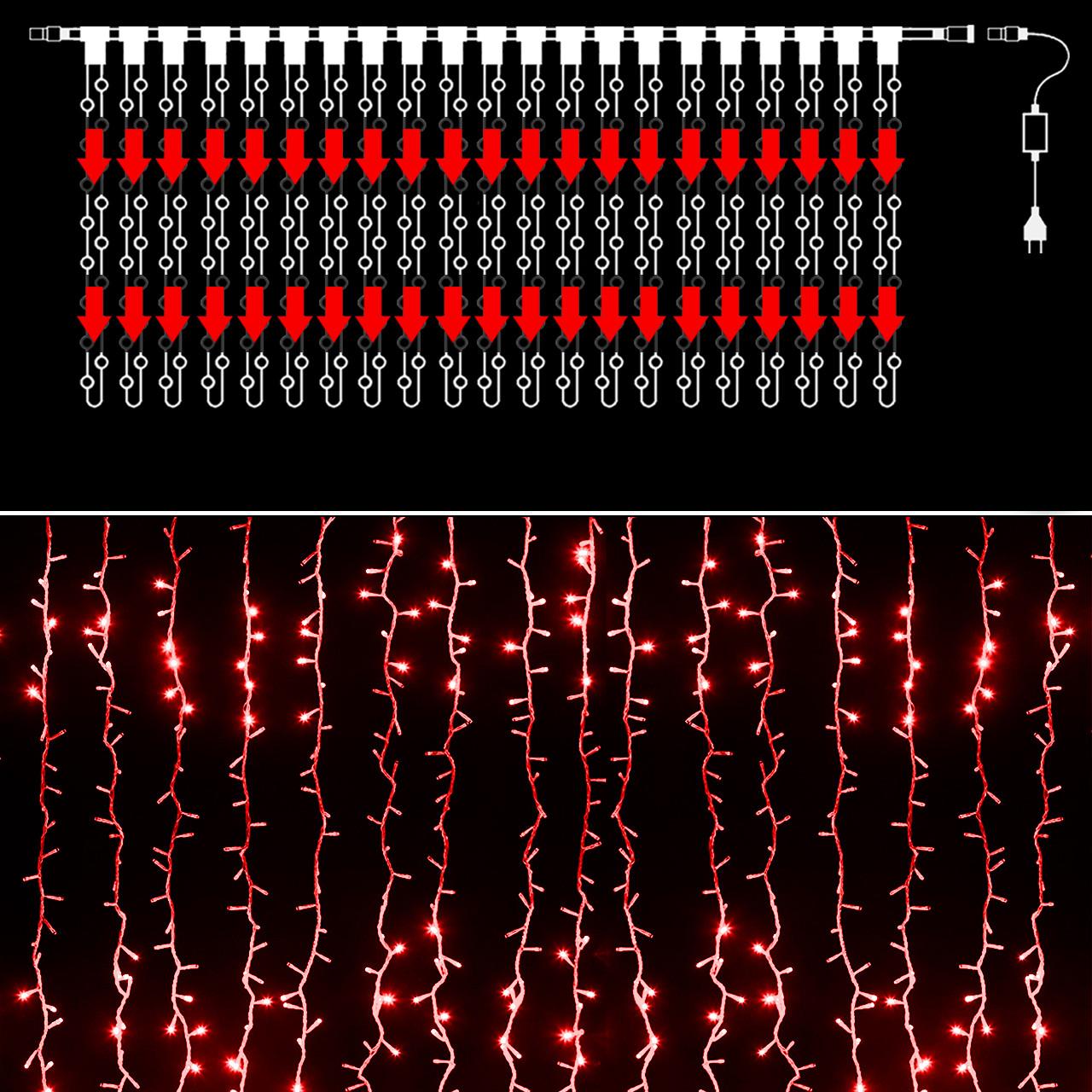 Уличная гирлянда водопад 560 светодиодов, 3 м*2 м, Красная(ВодУл_560/3*2Red)