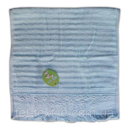 "Полотенце для кухни махровое с бахромой ""Голубое"" 30х60см., фото 2"