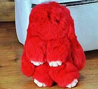 Меховой брелок кролик красный