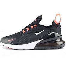 Кроссовки мужские Nike Air Max 270 (черные\оранжевые вставки)  Top replic