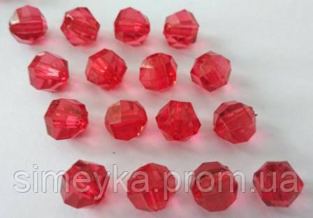 Бусина акриловая прозрачная гранёная 10 мм, упаковка 25 шт. Красная