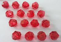 Бусина акриловая прозрачная гранёная 10 мм, упаковка 25 шт. Красная, фото 1