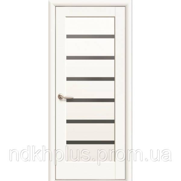 Двери межкомнатные Линнея белый матовый с черным стеклом