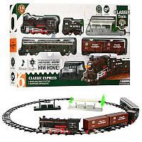 Железная дорога814-2, локомотив- звук, свет, вагон 3 шт, вокзал