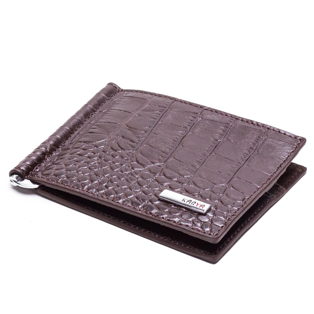 Зажим для денег кожаный коричневый Karya 0902-57