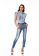 Женская летняя блуза. Модель К089_хлопок синяя полоска, фото 1