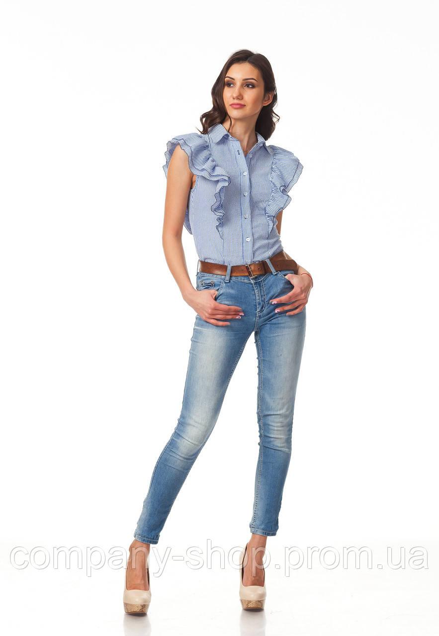 Женская летняя блуза. Модель К089_хлопок синяя полоска
