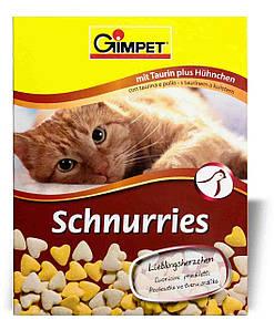Джимпет (Gimpet) Schnurries вітаміни-сердечка для кішок з таурином і куркою (650 шт) 420г