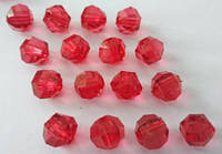 Ост. 1 уп!!! Бусина акриловая прозрачная гранёная 10 мм, упаковка 18 шт. Красная, фото 1