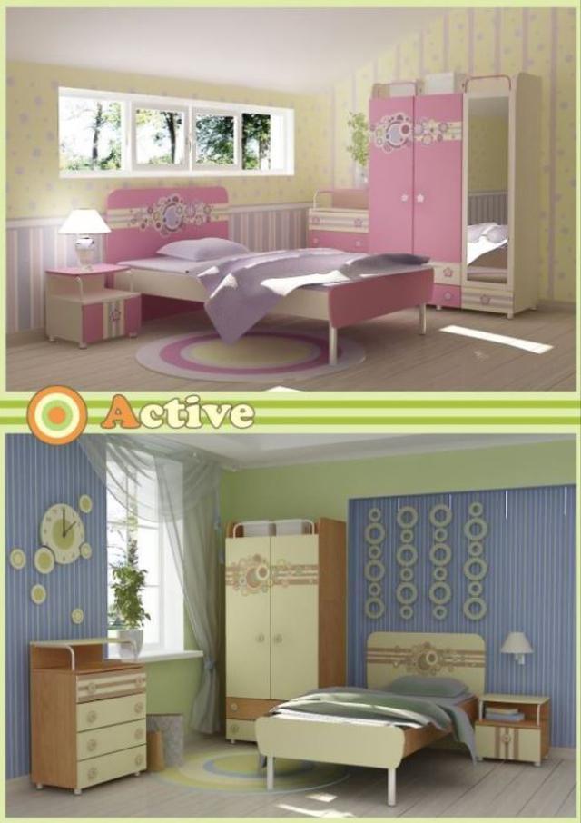 Детская комната Active (Фото в интерьере, модификация исполнения для девочек)