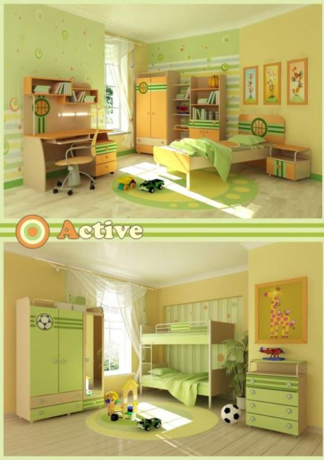 Детская комната Active (Интерьер, модификация для мальчиков футбольная, баскетбольная)