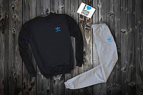 Спортивный костюм Adidas, маленький синий логотип-трилистник