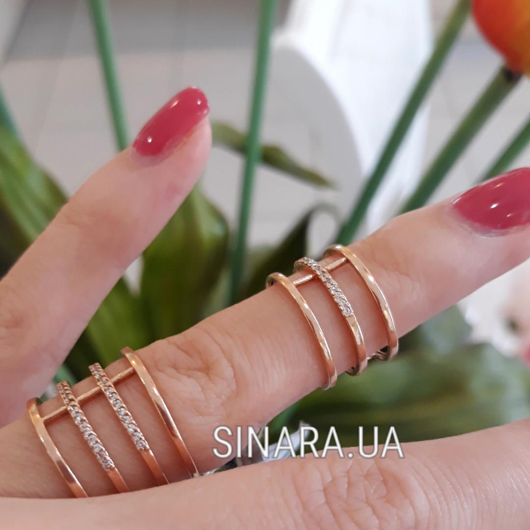 Серебряное кольцо на две фаланги с цирконием и позолотой