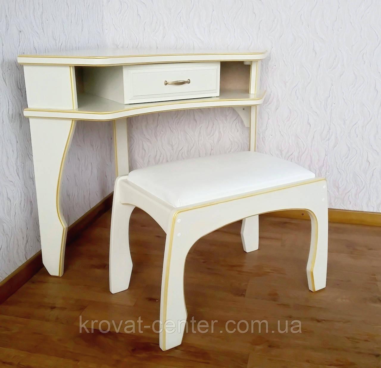 """Кутовий туалетний столик з банкеткою в білих відтінках """"Дарина"""""""