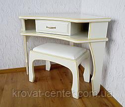 """Кутовий туалетний столик з банкеткою в білих відтінках """"Дарина"""", фото 3"""