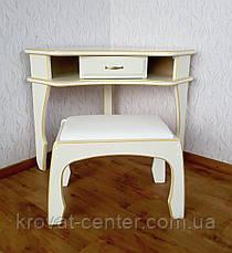 """Кутовий туалетний столик з банкеткою в білих відтінках """"Дарина"""", фото 2"""