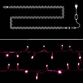Гирлянда нить светодиодная 100 LED, Розовый, силиконовый провод, 9 м
