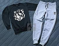 Спортивний костюм чоловічий Вовк антрацит з сірим (РЕПЛІКА)
