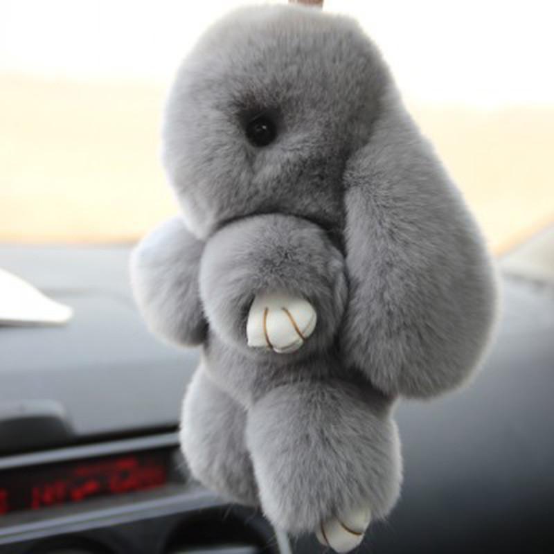Меховой брелок Кролик светло-серый 14 см
