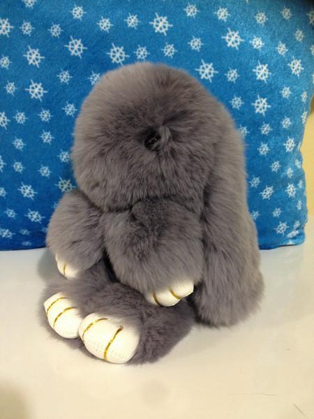 Меховой брелок Кролик серый 14 см