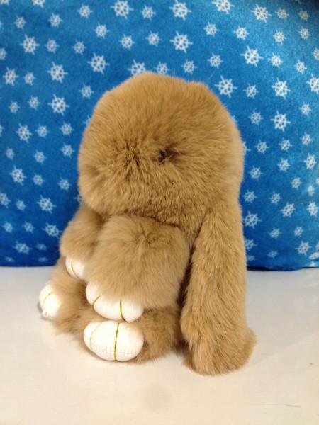 Меховой брелок Кролик песочный 14 см