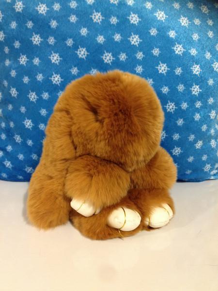 Меховой брелок Кролик светло-коричневый 14 см