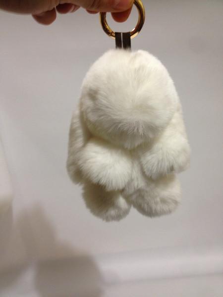 Меховой брелок Кролик белый 14 см