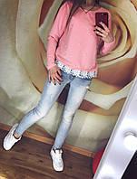 Женский Свитшот батник кофта двунить с жемчугом 42 44 46 размер Женские свитера, свитшот опт розница недорого