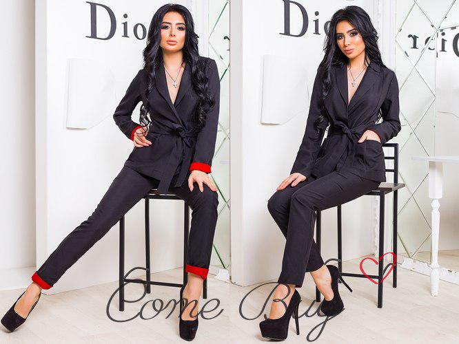 88639866c Женский костюм с брюками и пиджаком на запах из габардина 42-44 р ...