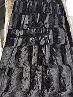 Черное меховое покрывало плед двухспальный Евро, фото 1