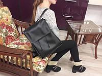 Женский рюкзак Loft черный из эко-кожи украинского производства