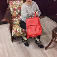 Женский рюкзак Loft красный из эко-кожи украинского производства
