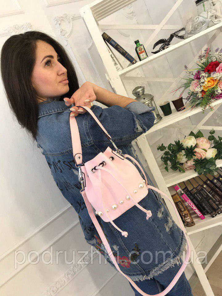 7293f4700512 Женская красивая сумка мешок на шнурке (3 цвета) - Интернет-магазин