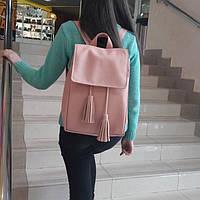 Женский рюкзак Loft пудровый из эко-кожи украинского производства