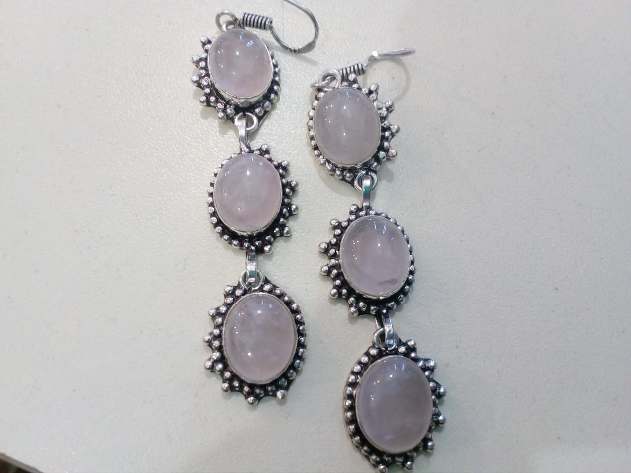 Красивые серьги с розовым кварцем. Серьги с натуральным камнем розовый кварц в серебре. Индия!