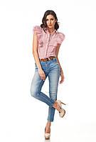Женская летняя блуза. Модель К089_хлопок красная полоска